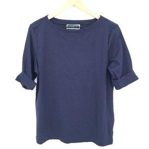 NEW Karen Scott cuffed sleeve t-shirt top casual Navy blue petite L PL Women's